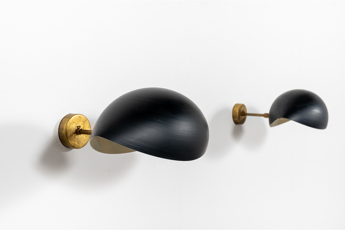 Appliques en laiton et métal modèle Oeil design contemporain italien set de 2