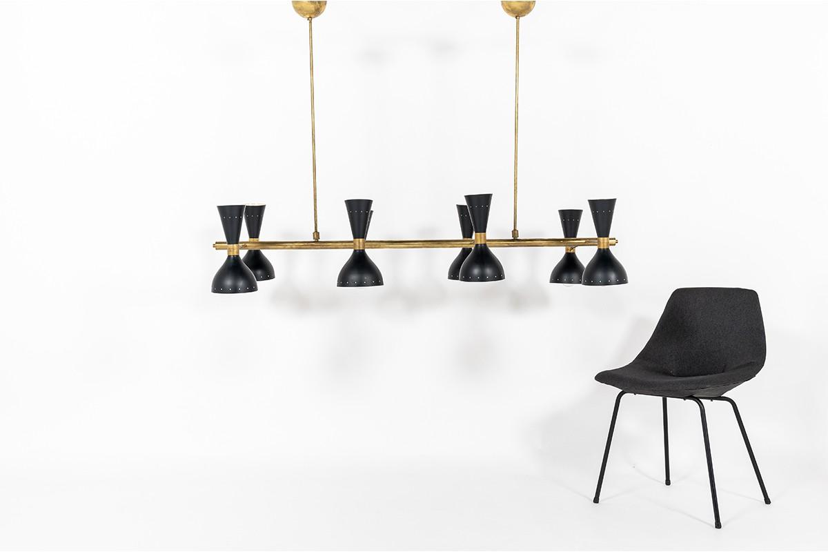 Suspension en laiton grand modèle rectangle diffuseurs métal design contemporain