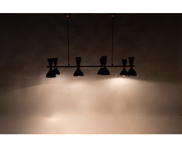 Pendant light in brass and metal large rectangular model contemporary design