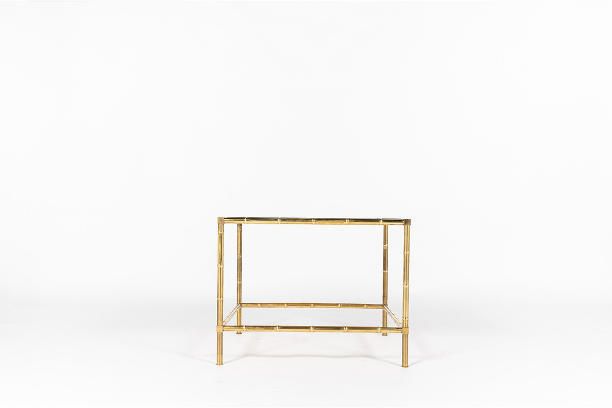 Square coffee table in brass and leather top 1970