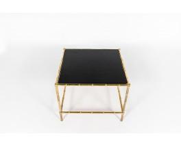 Table basse carrée en laiton et plateau cuir 1970