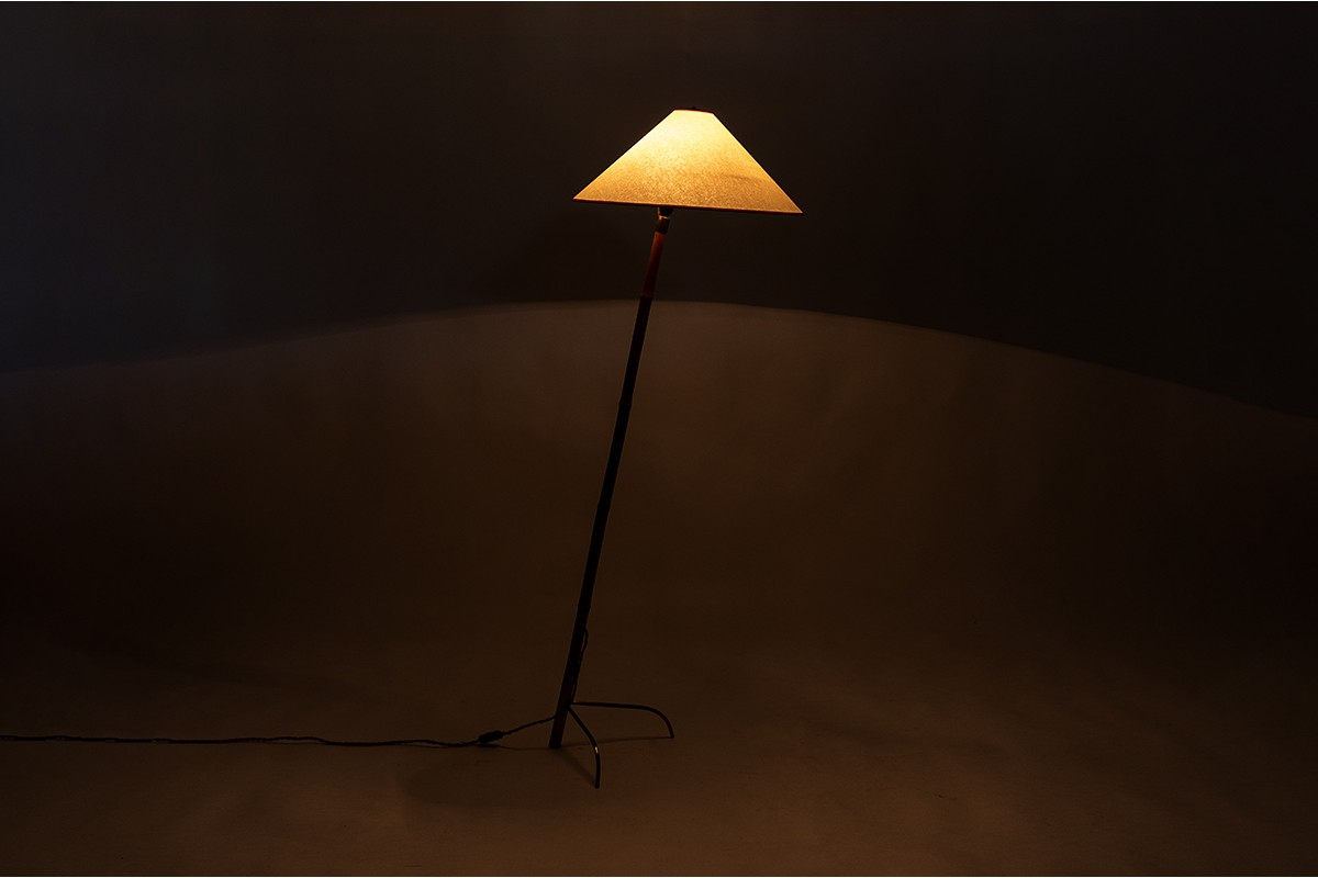 Rupert Nikoll floor lamp in bamboo and brass with paper shade 1950