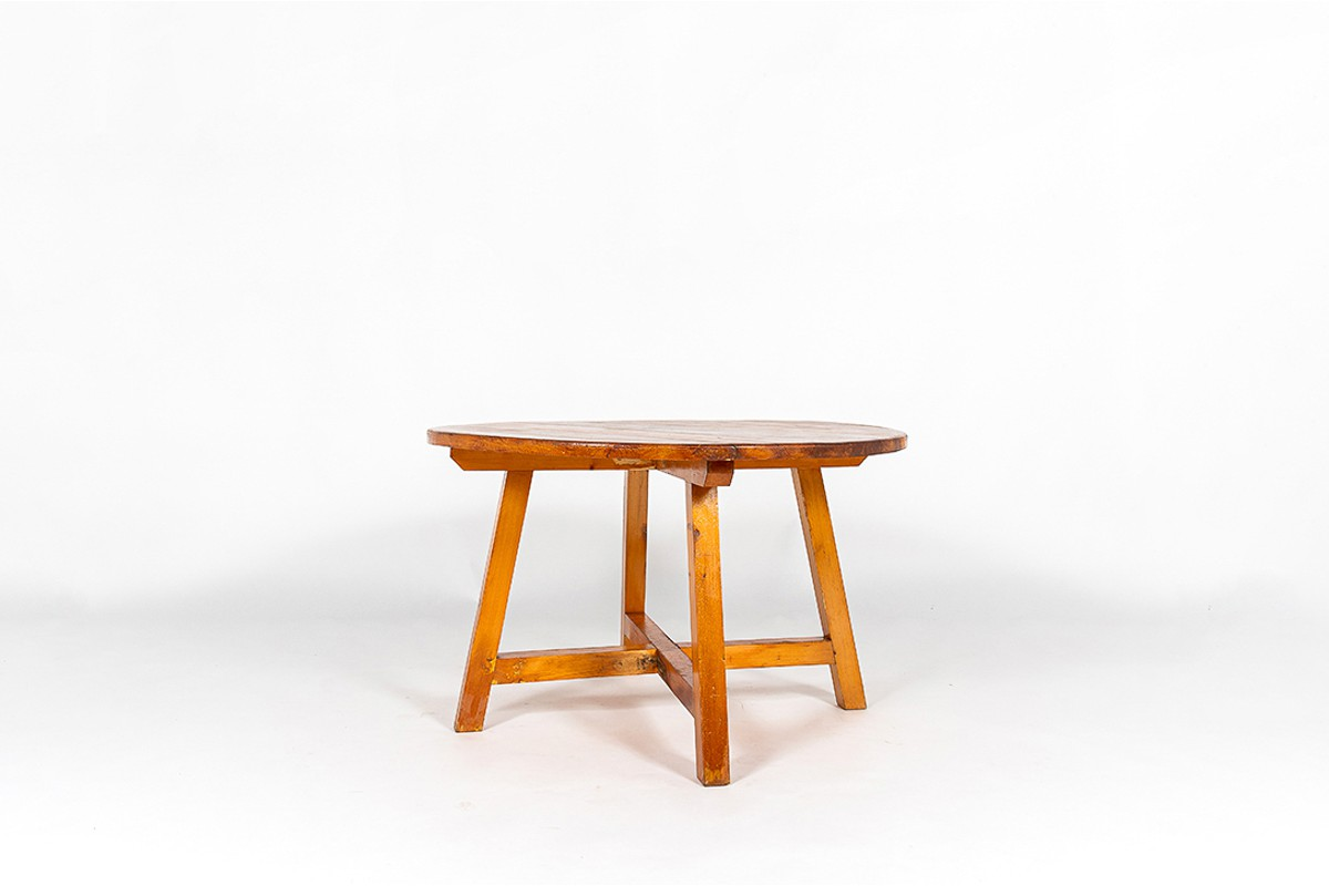 Round dining table in pine 1950