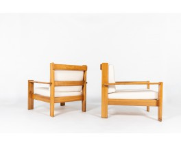 Armchairs in elm with Maison Thevenon fabric 1980 set of 2
