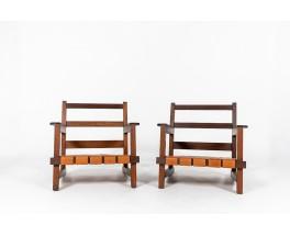 Fauteuils en chêne et cuir design reconstruction 1950 set de 2