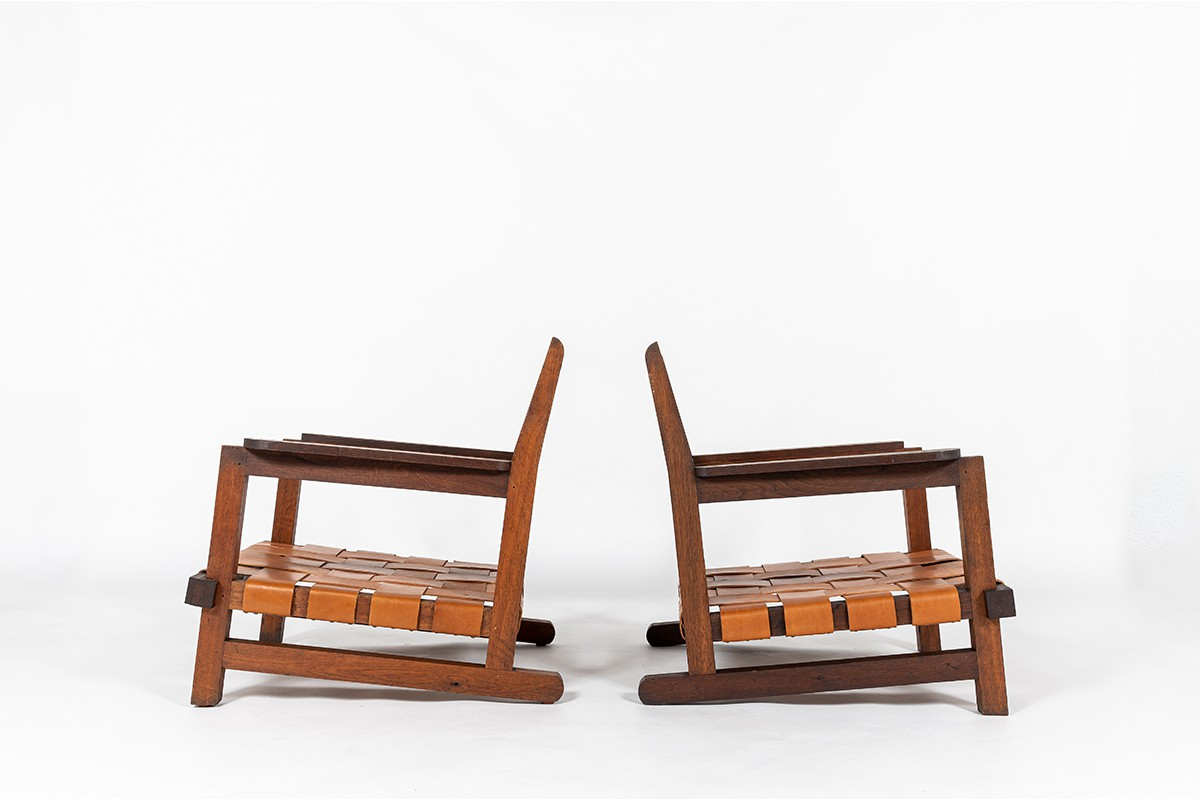 Armchairs in oak and leather reconstruction design 1950 set of 2