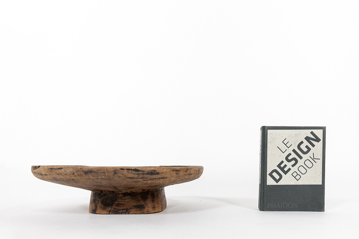 Coupe en bois monoxyle design africain 1950