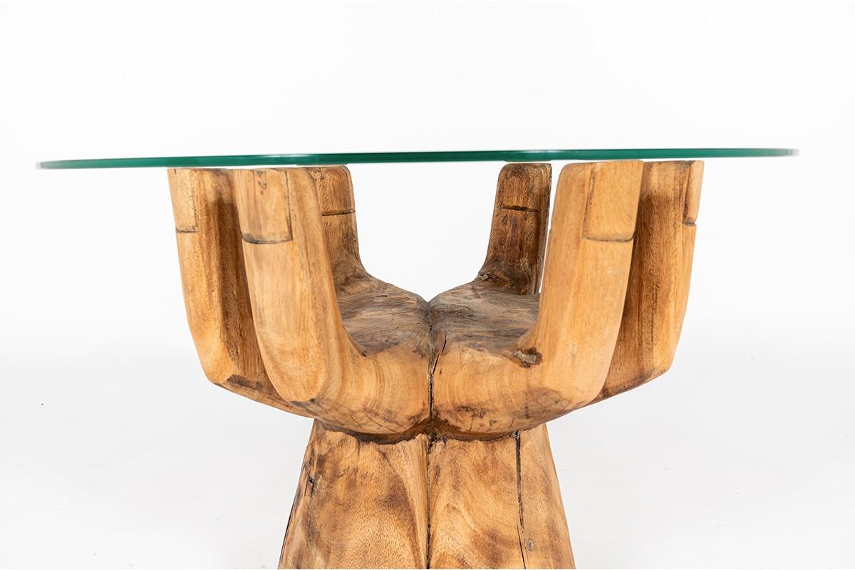 Table basse ronde modèle main en bois et verre 1950