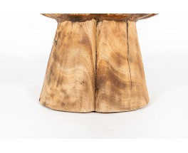 Round coffee table model hand in wood and glass 1950