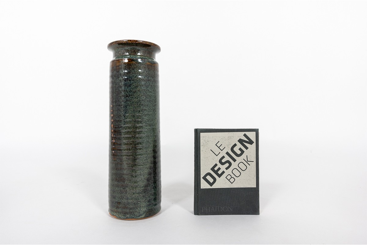 Vase en céramique vert grand modèle 1950