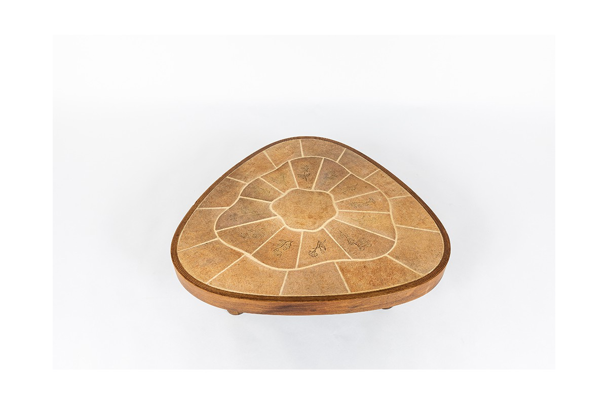 Coffee table in oak and ceramic Barrois Vallauris 1950