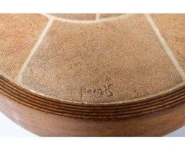 Table basse en chêne et céramique Barrois Vallauris 1960