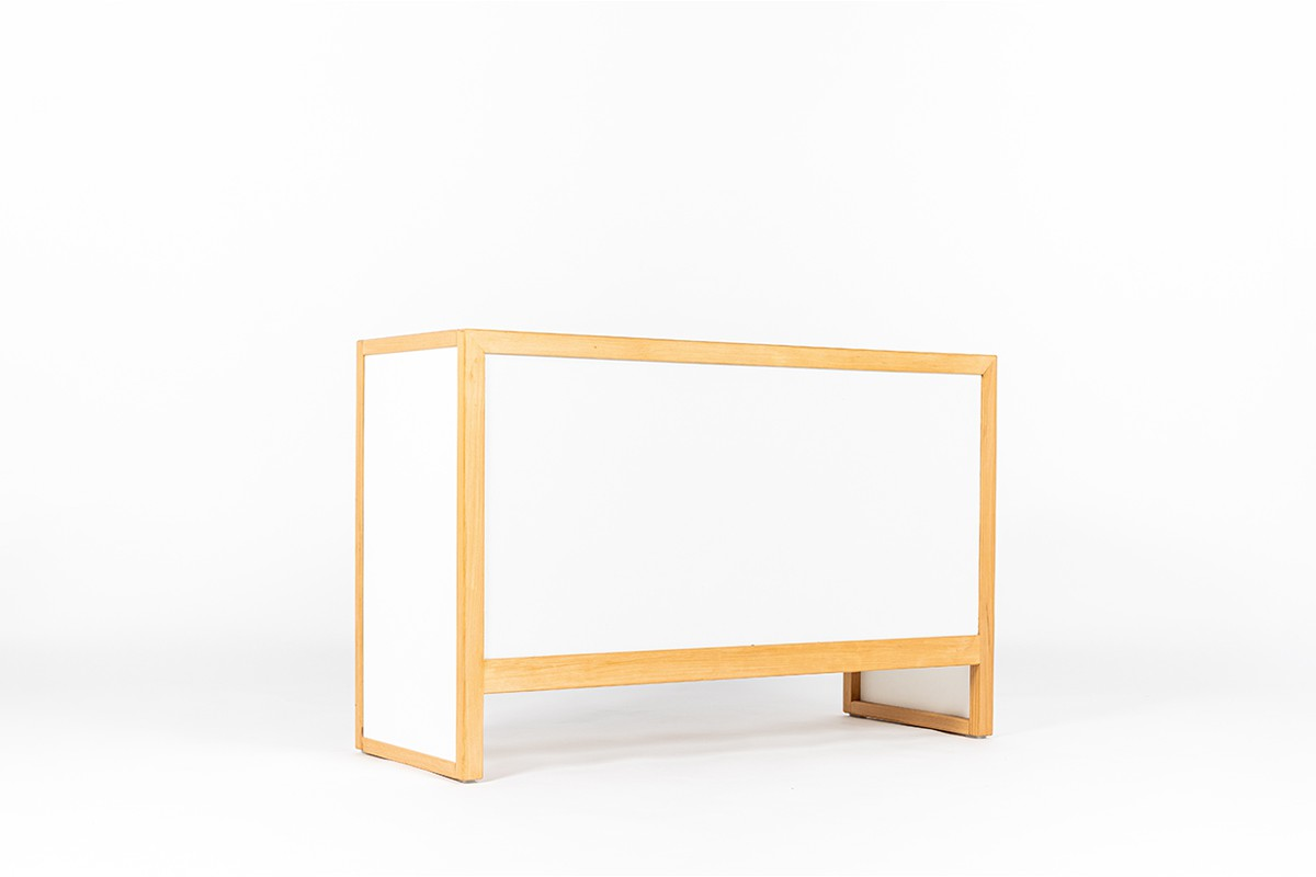 Andre Sornay cabinet in beech and black lacquer 1960