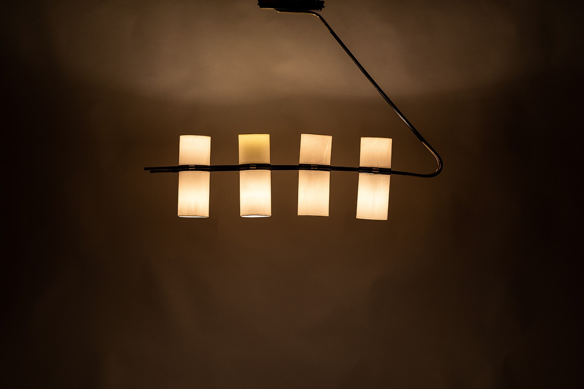 Pendant lamp 8 lights in black metal and brass edition Lunel 1950