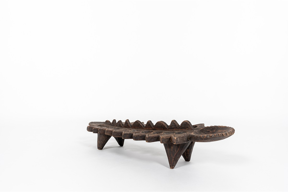 Trinket bowl awale game in wood African design 1950