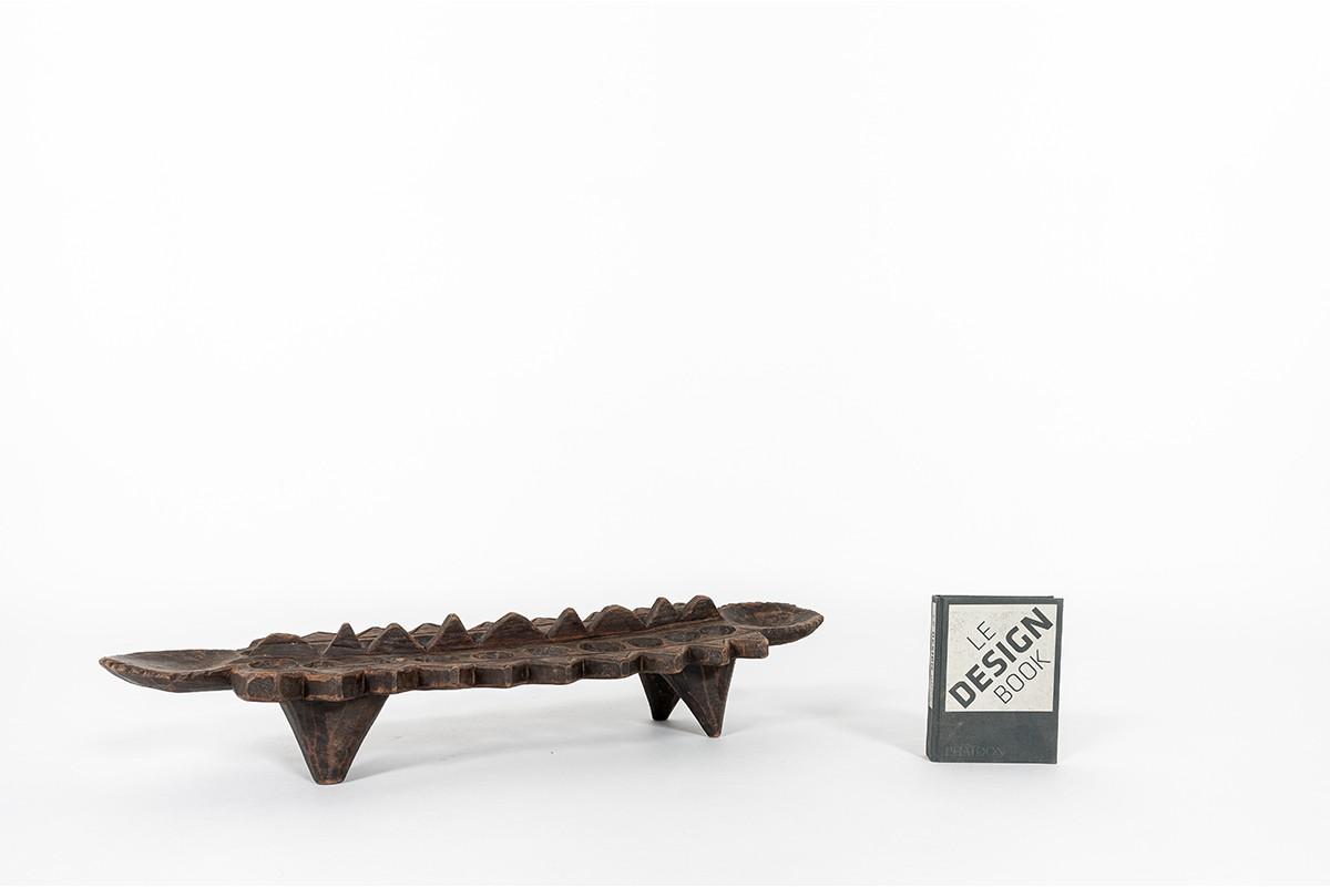 Vide poche jeu awalé en bois design africain 1950