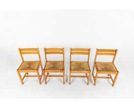 Roland Haeusler chairs in elm and straw edition Maison Regain 1980 set of 4