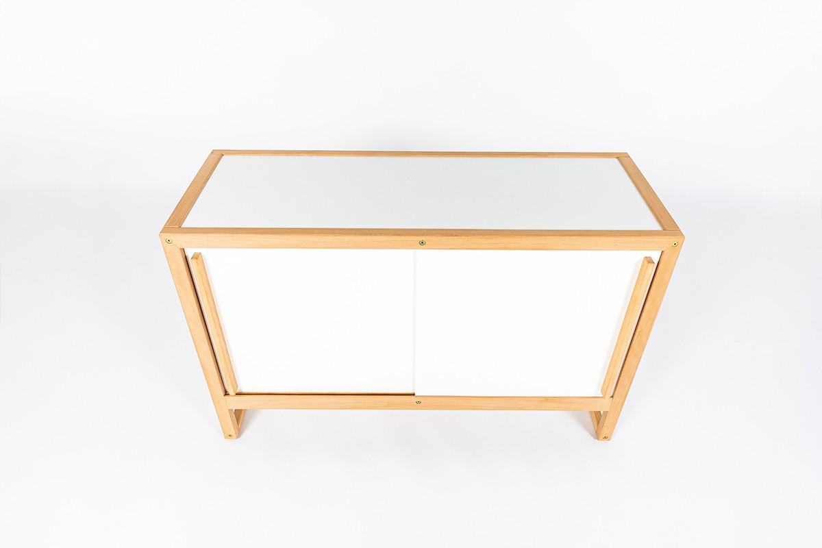 Andre Sornay cabinet in beech and white lacquer 1960