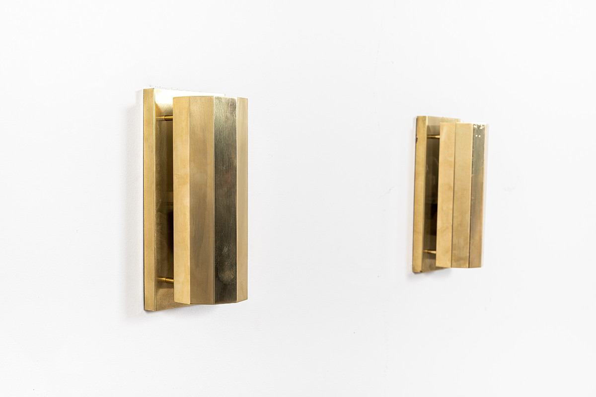 Wall lights in brass 1950 set of 2