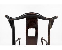 Fauteuils bonnet de lettré en orme teinté design chinois 1900