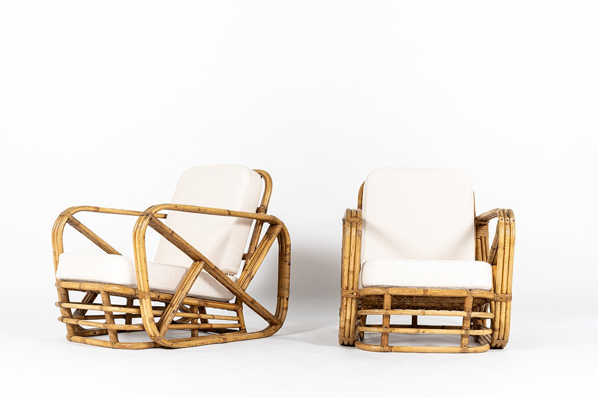 Paul Frankl armchairs in rattan and Maison Thevenon fabric 1950 set of 2