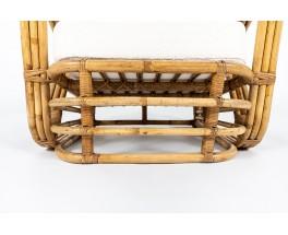 Fauteuils Paul Frankl en rotin et tissu bouclette Maison Thevenon 1950 set de 2
