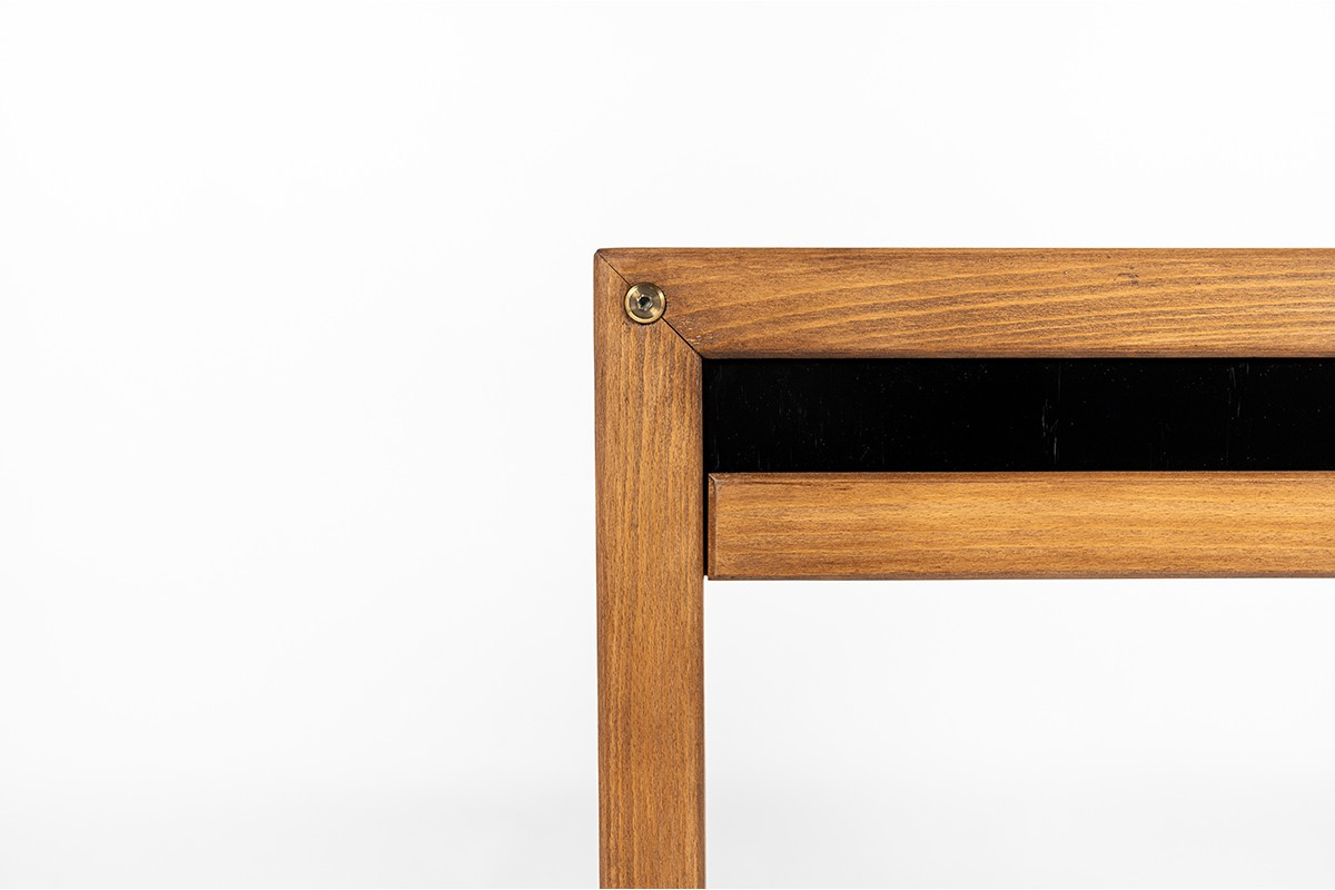André Sornay console table in beech and black lacqueur 1960