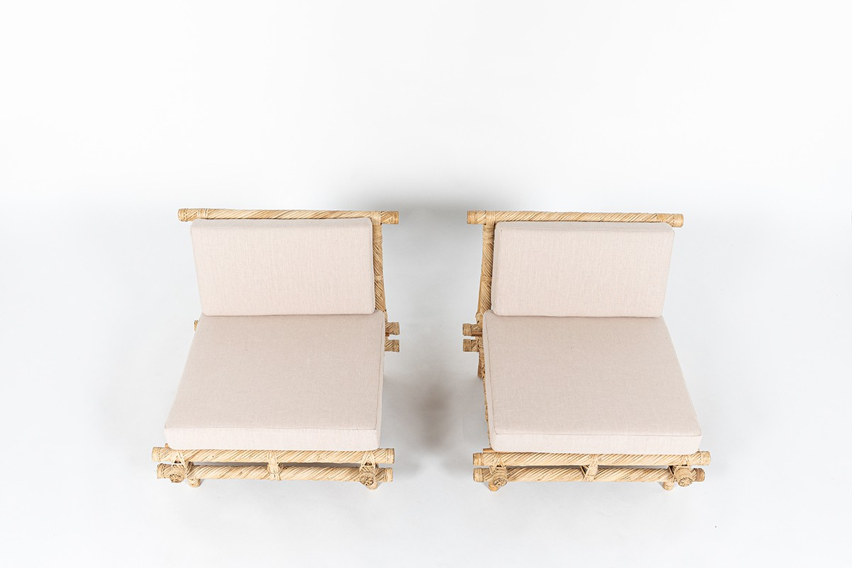 Low chairs in bamboo and beige linen fabric 1950 set of 2