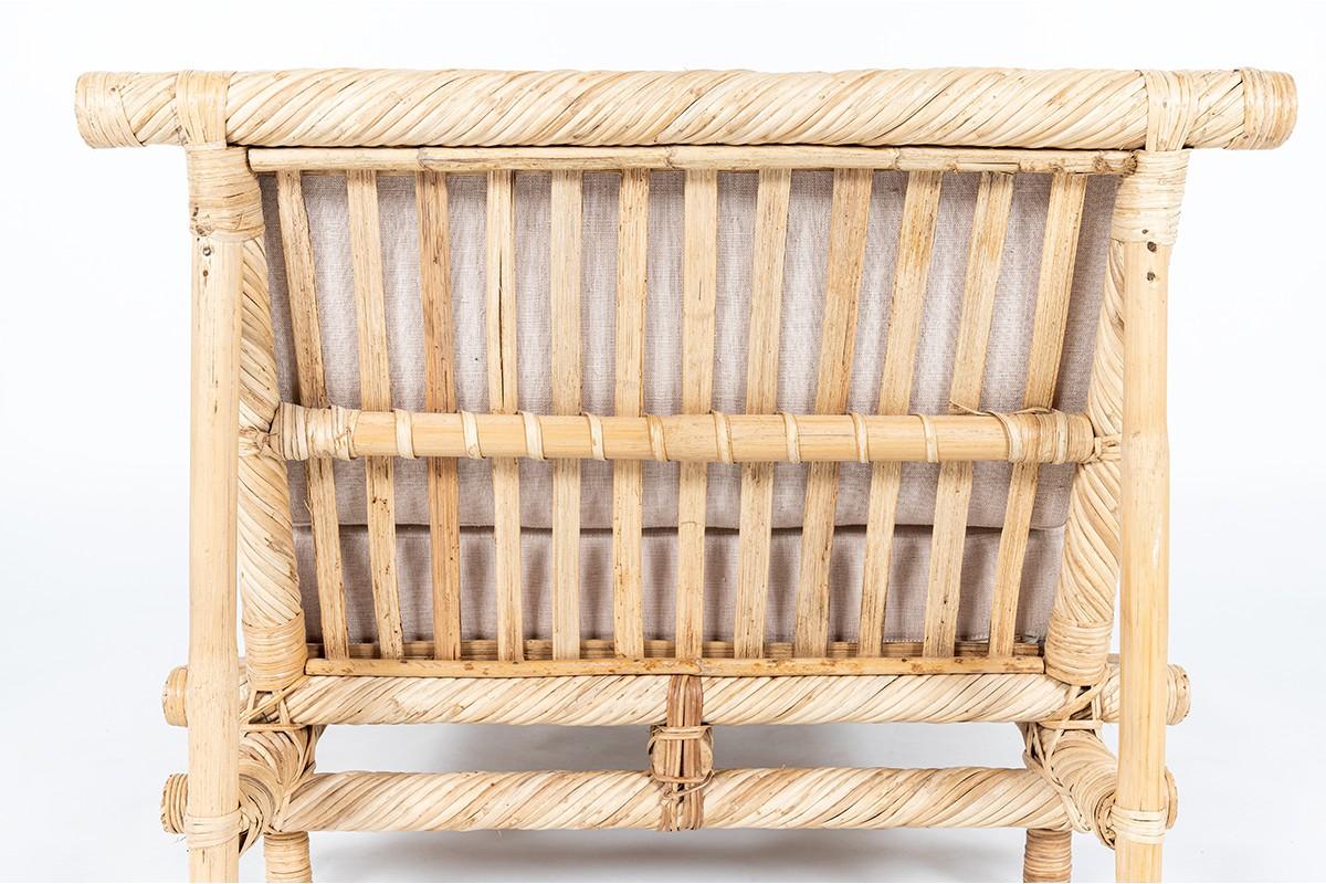 Chauffeuses en bambou et tissu lin 1950 set de 2