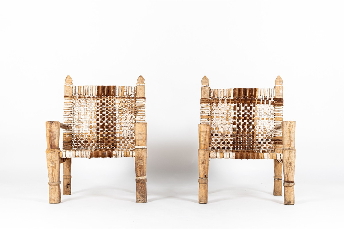 Armchairs in wood and braided cowhide Ethiopian design 1950 set of 2
