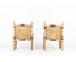 Fauteuils en bois et peau de vache tressée design Ethiopien 1950 set de 2