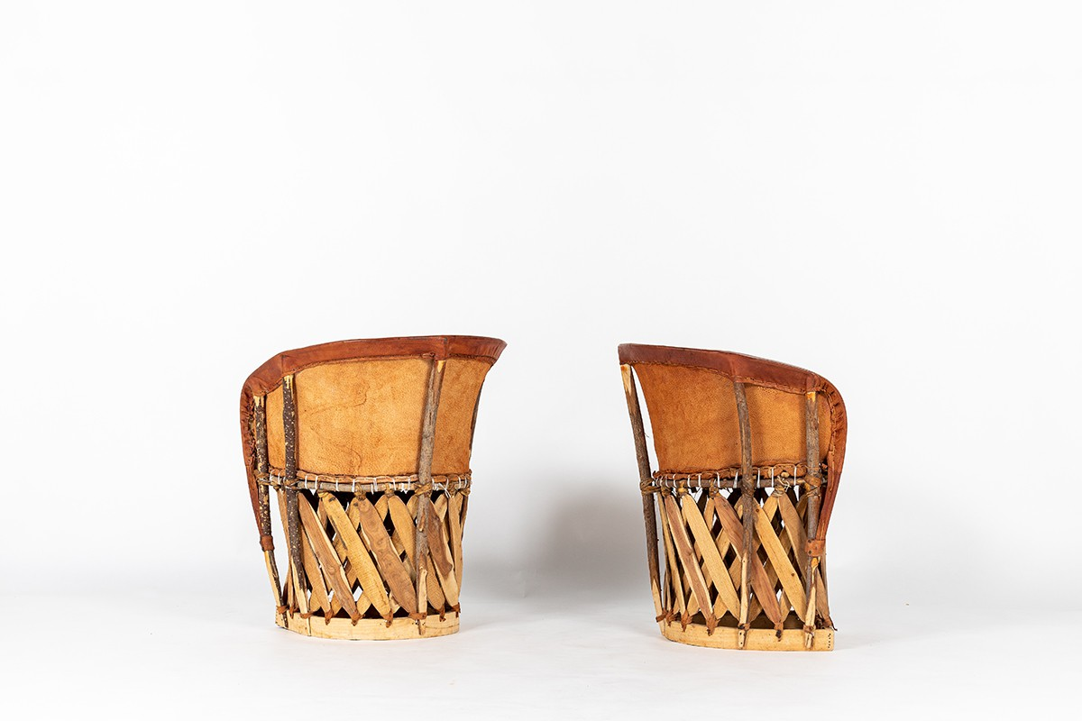 Armchair in stretched leather and wood 1950 set of 2