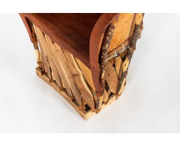 Fauteuils en cuir tendu et bois 1950 set de 2
