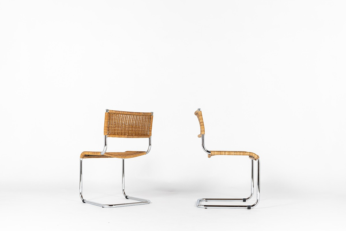 Chaises en chrome et rotin 1970 set de 2