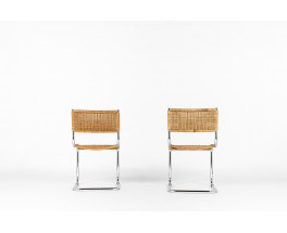 Chrome and rattan chairs 1970 set of 2