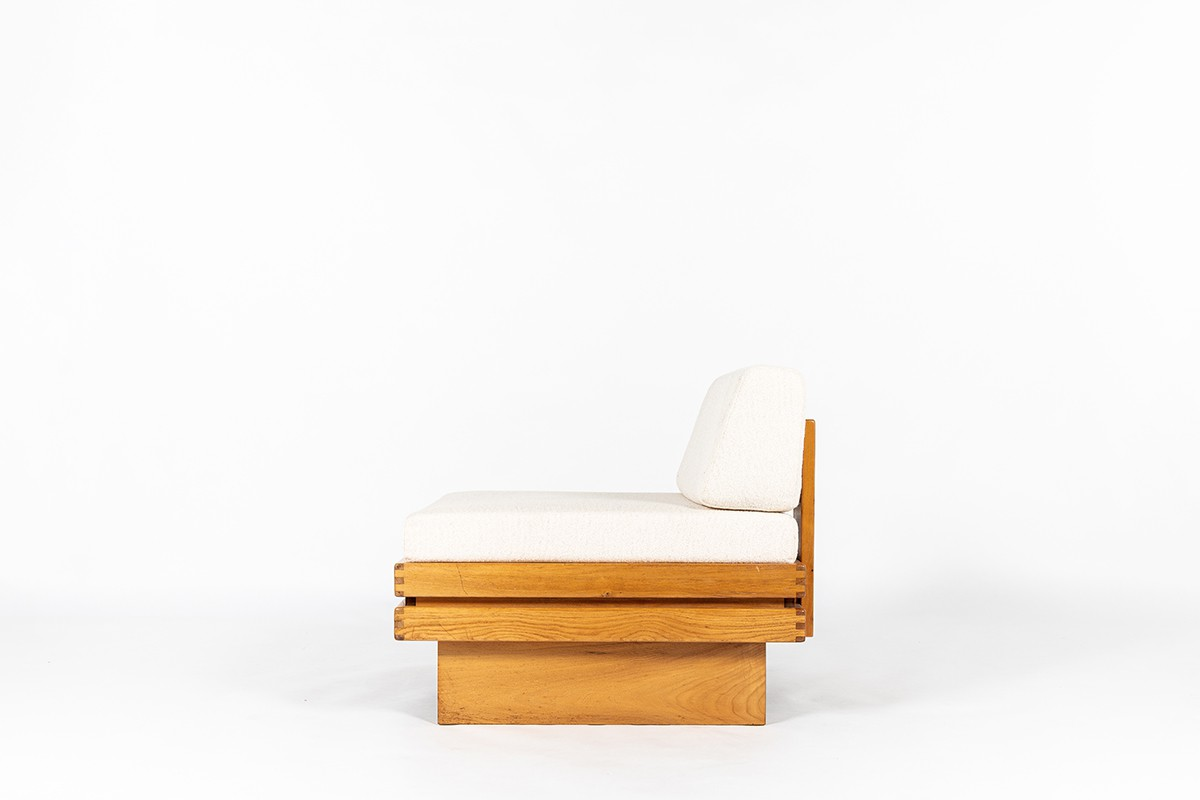 Armchair in elm and Maison Thevenon fabric 1980