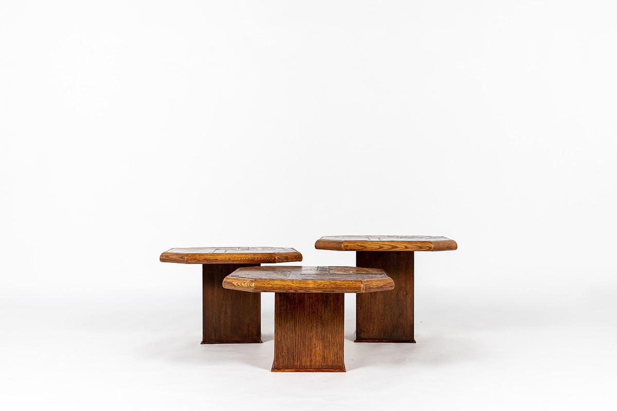 Tables basses gigognes chêne, ardoise et pierre de lave 1970 set de 3