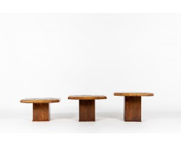 Nesting coffee tables in oak, slate and lava stone 1970 set of 3