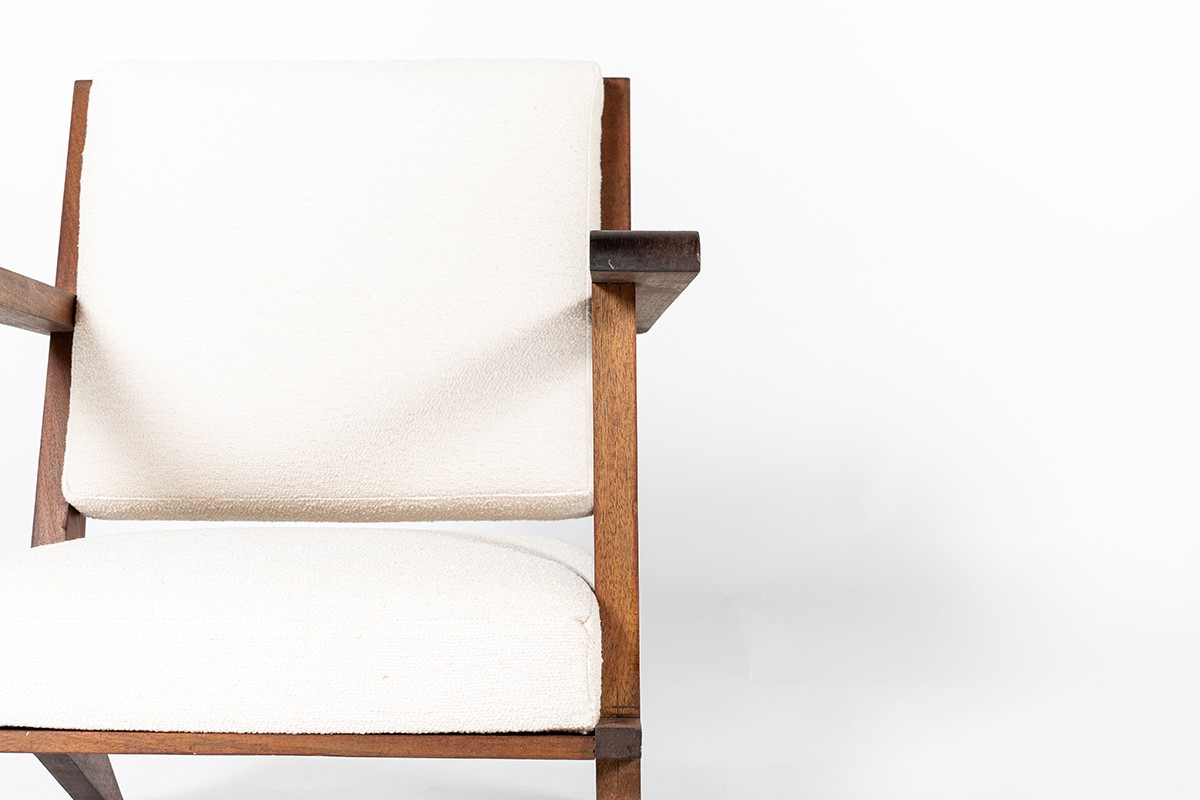 Armchairs in mahogany and Maison Thevenon fabric 1950 set of 2