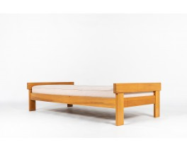 Daybed in elm and Maison Thevenon beige linen fabric edition Regain 1980