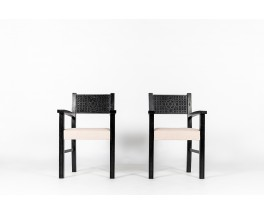 Armchairs in carved black beech and Maison Thevenon linen fabric 1950 set of 2