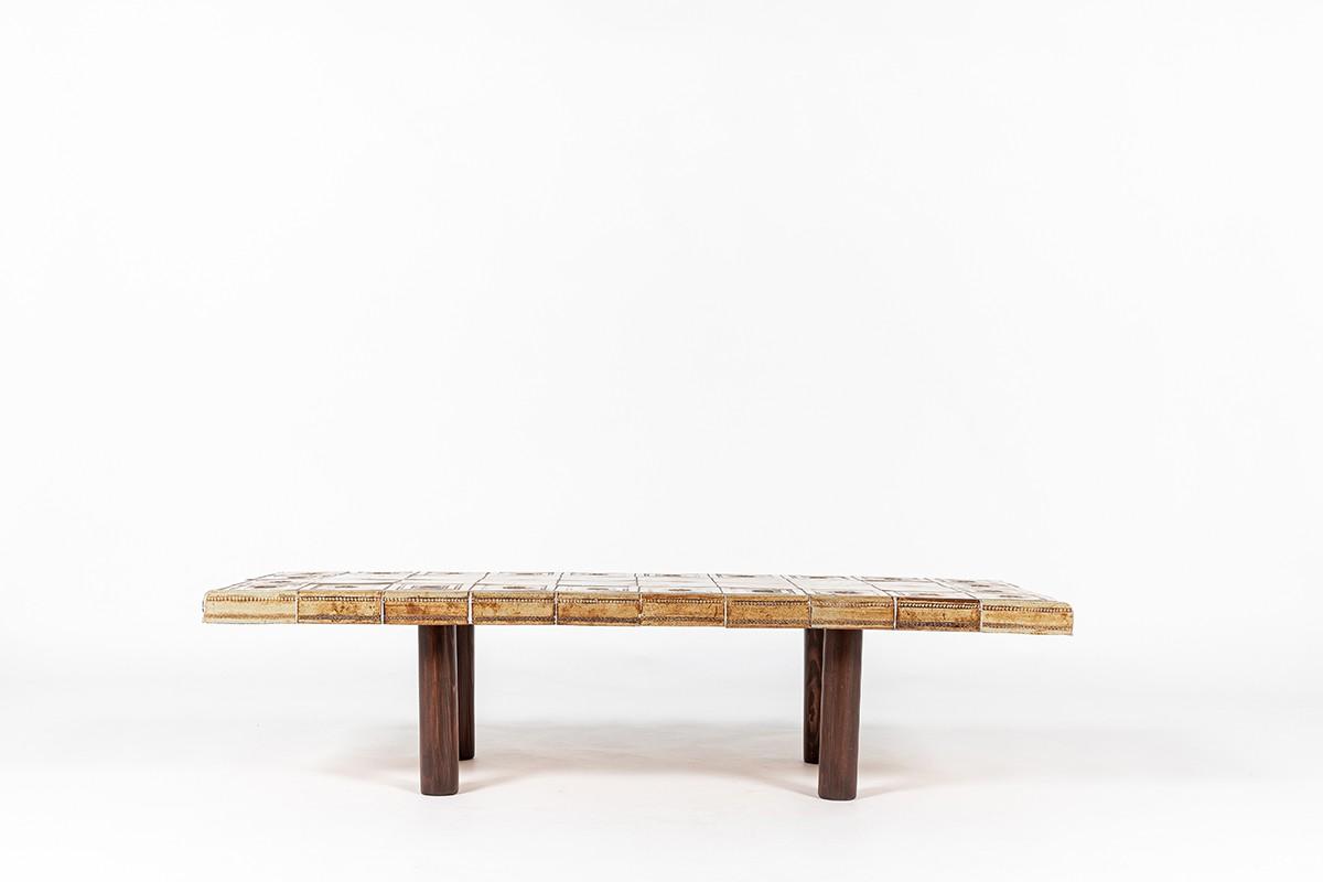 Table basse rectangulaire Roger Capron céramique et chêne 1960