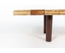 Rectangular Roger Capron coffee table ceramic and oak 1960