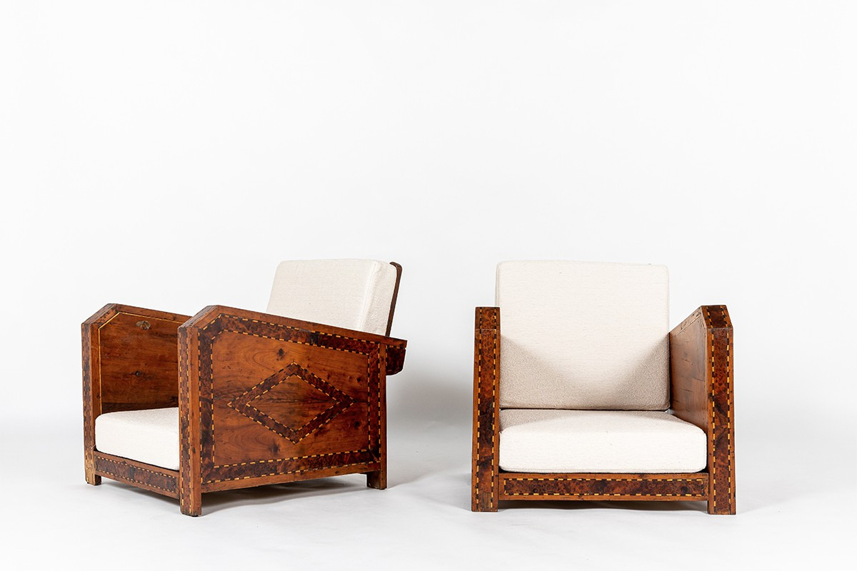 Armchairs in wood and marquetry design North Africa 1950 set of 2