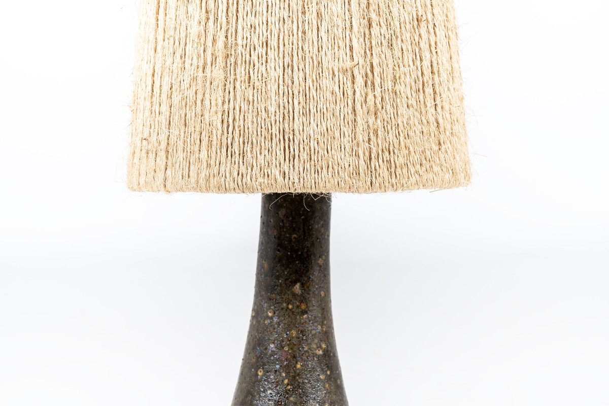 Table lamp in ceramic with rope lampshade 1960