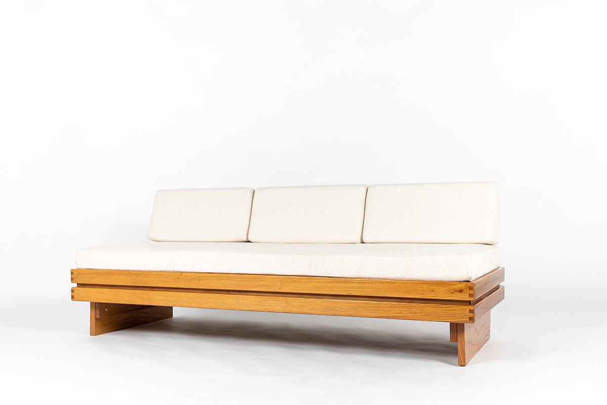 Daybed in elm and Maison Thevenon fabric 1980