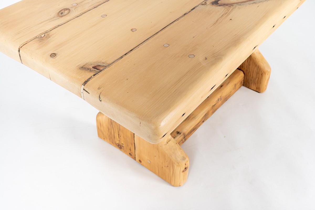Table de repas rectangulaire en pin de chalet canadien 1950