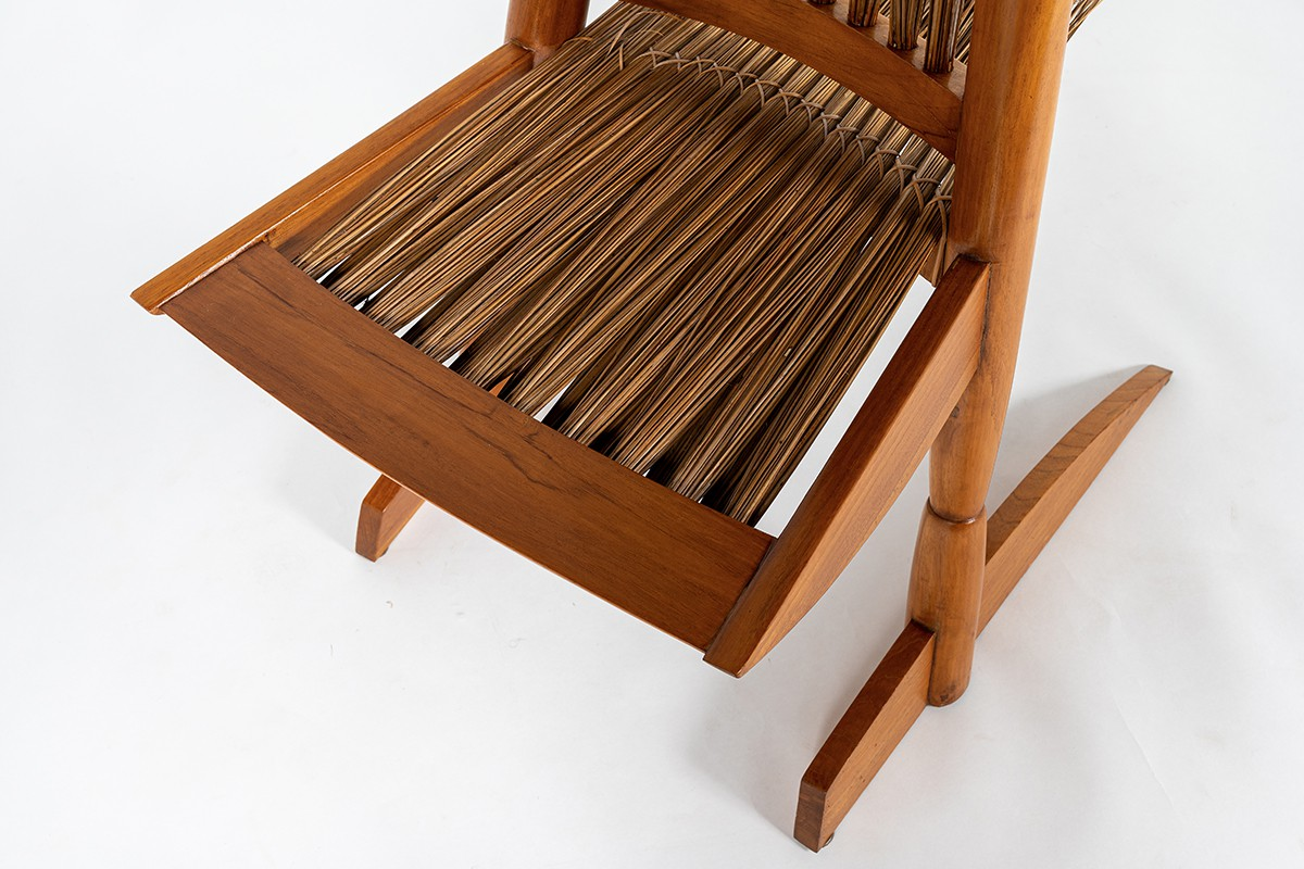 Armchairs large model in mahogany and rattan Ethnic design 1980 set of 2