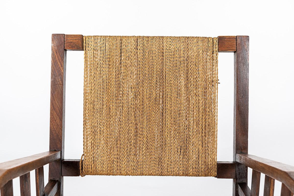 Francis Jourdain armchair in oak and rope 1930