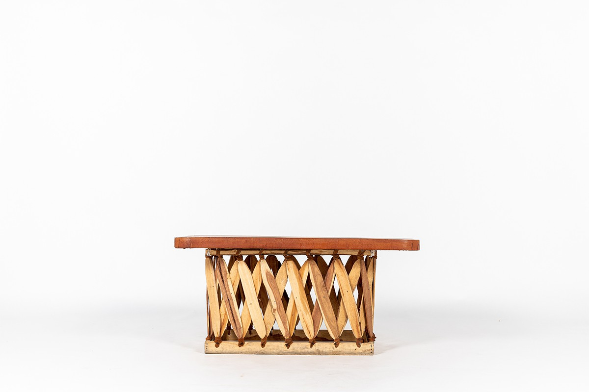 Rectangular coffee table in wood and stretched leather Mexican design 1950